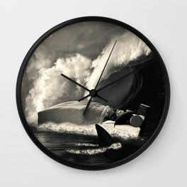 Sleeping with Sharks Black and White Wall Clock
