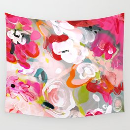 Dream flowers in pink rose floral abstract art Wall Tapestry