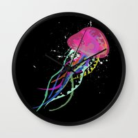 jelly fish Wall Clocks featuring Jelly Fish by Noel Mendoza