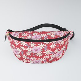 Pink Petunias Daisies Red Background Fanny Pack