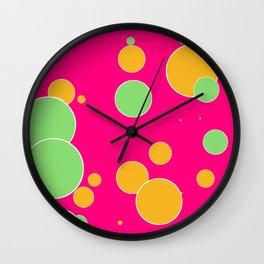 vintage fantasy mint and orange dots Wall Clock