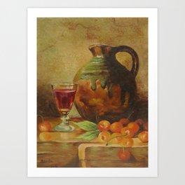 Still Life Wine and Fruit Art Print