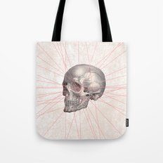 Abstract Gray Vintage Skull Modern Pink Stripes Tote Bag