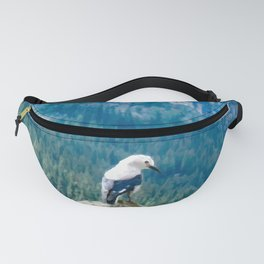 Digital Painting of a Cute Mountain Bird Sitting on a Rock in Banff National Park, Alberta Fanny Pack