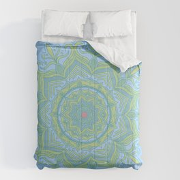Blue and Green Flower Mandala Comforters