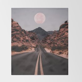 Road Red Moon Throw Blanket