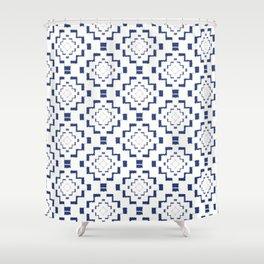 Rough Geometric Aztec Print - Navy Blue Shower Curtain