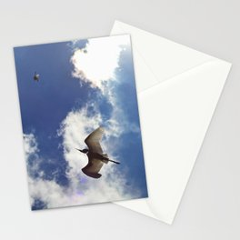 Egrets soaring against blue sky Stationery Cards
