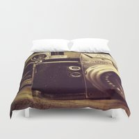 cameras Duvet Covers featuring Vintage cameras by Fairies and Rock