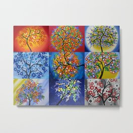 circle trees collage - a bright patchwork collection by Australian Artist Catherine Jacobs  Metal Print