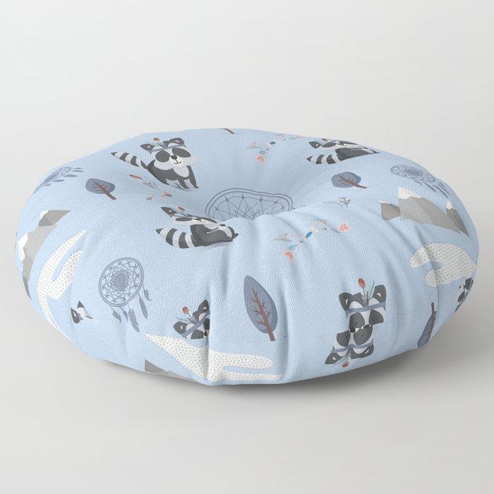 Boho Racoons Pattern Floor Pillow