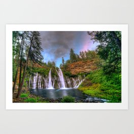 Photos California USA Burney Falls Nature Waterfalls Trees Art Print