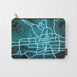 Ulaanbaatar, Mongolia, Blue, White, Neon, Glow, City, Map Carry-All Pouch