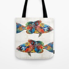 Colorful Grouper Art Fish by Sharon Cummings Tote Bag