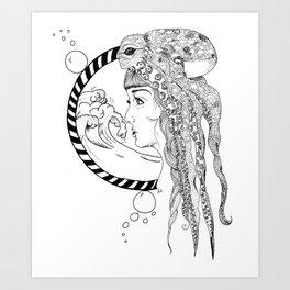 Octopus Woman Art Print