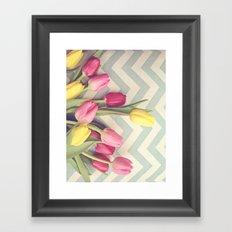Tulips and Chevrons Framed Art Print