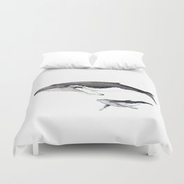 North Atlantic Humpback whale with calf Duvet Cover