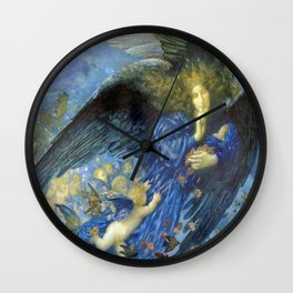 Night with her Train of Stars by Edward Robert Hughes Wall Clock