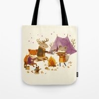 fall Tote Bags featuring Critters: Fall Camping by Teagan White