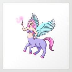 Centaur Pegasus Unicorn Witch Girl Art Print