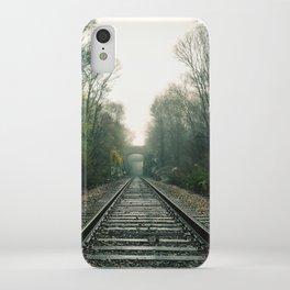 Creepy foggy railroad iPhone Case