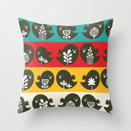 Birds in line. Throw Pillow
