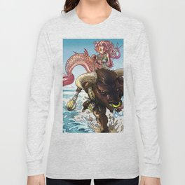 MERMAID RIDING A MINOTAUR Long Sleeve T-shirt