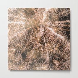 Sparkly gold fireworks Abstract Metal Print