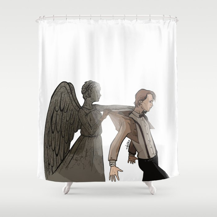 Doctor Who ] Eleven Matt Smith Weeping Angel Shower Curtain by ...
