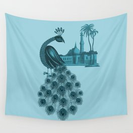 Blue peacock oriental dream Wall Tapestry