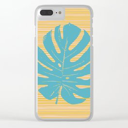 Monstera in Turquoise and Gold Clear iPhone Case