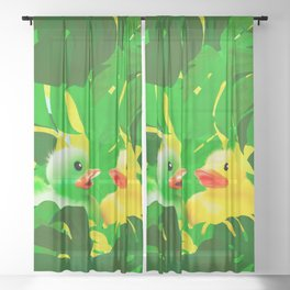 Small Rubber Ducks with Large Monstera Leaves #decor #society6 #buyart Sheer Curtain