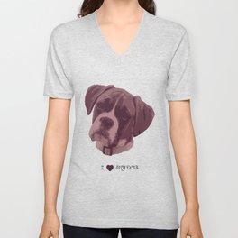 I love my dog - Boxer, pink Unisex V-Neck