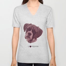 I love my dog - Boxer, pink Unisex V-Neck