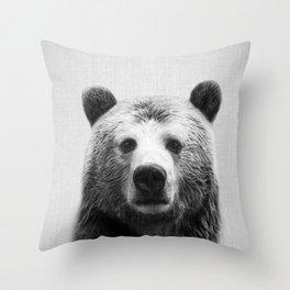 Bear - Black & White Throw Pillow