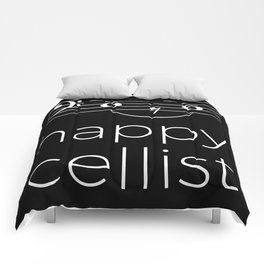 Happy cellist (dark colors/bass clef) Comforters