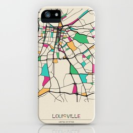 Colorful City Maps: Louisville, Kentucky iPhone Case