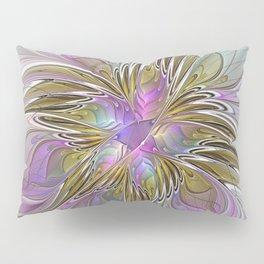 Flourish, Abstract Fractal Art Flower Pillow Sham