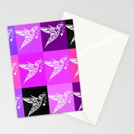 PInk ad purple prints with a love theme Stationery Cards