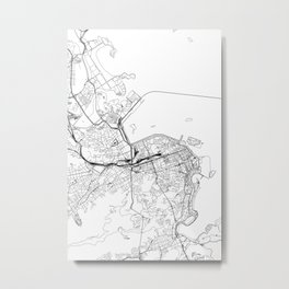 Rio De Janeiro White Map Metal Print