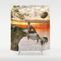 relax Shower Curtains featuring Relax by Susann Mielke