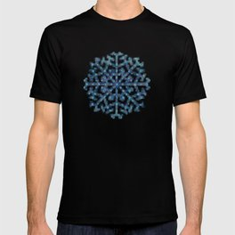 Amazing Watercolor Snowflakes Pattern on the dark blue background T-shirt
