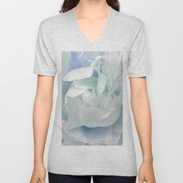 Peony in Blue White Unisex V-Neck
