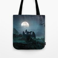 daenerys Tote Bags featuring TOOTHLESS halloween by kattie flynn