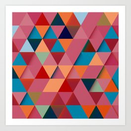 Colorfull abstract darker triangle pattern Art Print