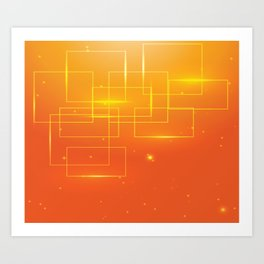 YELLOW SQUARES ON AN ORANGE BACKGROUND Abstract Art Art Print