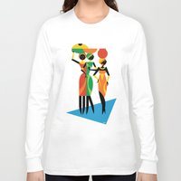 african Long Sleeve T-shirts featuring African Women by Szoki