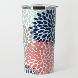 Floral Bloom Print, Living Coral, Pale Aqua Blue, Gray, Navy Travel Mug