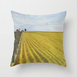 Alone, Farm, Acrylic on Canvas Throw Pillow