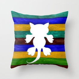 Stylized Cat Silhouette Throw Pillow